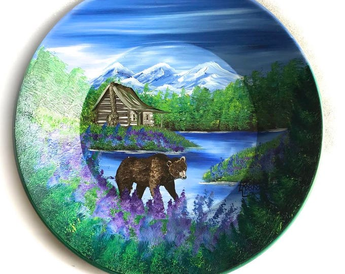 Hand Painted 11 Inch Gold Pans Mountain Summer Cabin and Brown Bear