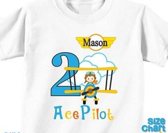 SALE Personalized Ace Pilot Brunette Birthday Party Shirt T-shirt Bodysuit Pilot Aviator Airplane Bi-plane Birthday Pretend Dress Up