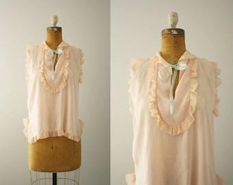 1930s pajama top | vintage 30s sleeveless blouse