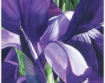 Traditional Wall Art 'Heart of a Purple Iris' by Cathy Pearson - Floral Decor Traditional Iris Artwork on Metal or Plexiglass