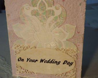 Hand made, deckle edge, wedding card