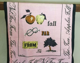 """Vintage Luther Travis Pink Tea Towel """"Apples Fall Not Far From the Tree"""""""