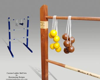Ladder Ball Game Personalized Custom Ladderball game Pyrography Wooden ladder Golf Ball Bolas wedding game lawn game Wedding reception game