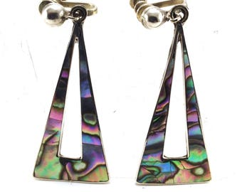 Vintage Earrings Abalone Geometric Drops Hallmarked Taxco Mexico Sterling Very Deep Colors Great Gift Idea Collectible