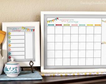 Family Calendar - Meal Planner - Family Command Center  - Weekly Menu Board - 16x20 Calendar - 20x30 Calendar - 8x10 Menu Planner - Find Joy