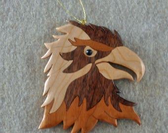 American Eagle Patriotic Ornament Wood Intarsia Handmade in USA