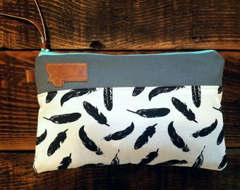 Canvas Montana clutch/White with black linen feather print/Gray canvas/Caramel vegan leather details/Teal zipper/Swap out any state patch!