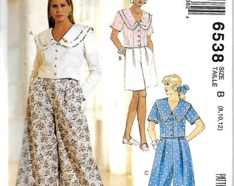 McCall's 6538 Misses Tops, Culotte And Shorts Pattern, 8-12 & 10-14,  UNCUT