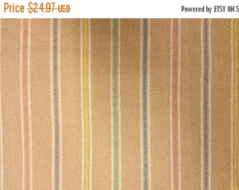 """ON SALE 1 Yd + 17"""" x 60"""" Wide Camel Wool Suiting Fabric With Vertical Pastel Stripe"""