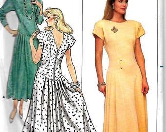 ON SALE Butterick 5590 Misses Dropped Waist Dress Pattern, Back And Side Front Pleats, 8-12 & 14-18, UNCUT