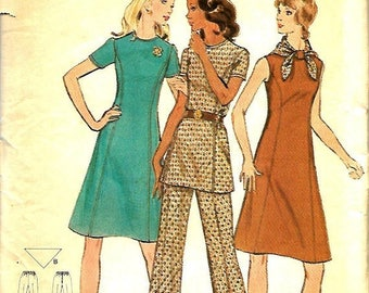 ON SALE 1970's Butterick 6582  Misses Half Size A-Line Dress, Tunic And Pants Pattern, Size 16 1/2, Bust 39, Uncut