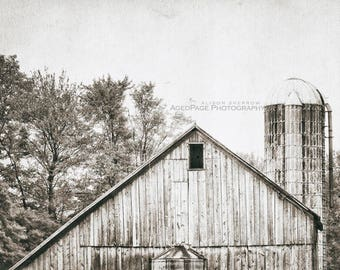 Rustic Farmhouse Decor, Neutral Art, Barn Photography, Large Wall Art, Country Style   'Barn In Autumn 2 - Sepia' AgedPage Series