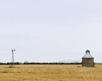 Contemporary Rustic Art, Rural Country Landscape, Farmhouse Wall Decor, Living Room, Farm Windmill Art, Blue & Gold   'The Corn Crib'