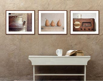 Kitchen Art Set, Rustic Farmhouse Wall Decor, Wood Trim, Print Set Of 3