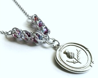 Scottish Thistle Necklace - Wax Seal - Thistle Necklace - Outlander