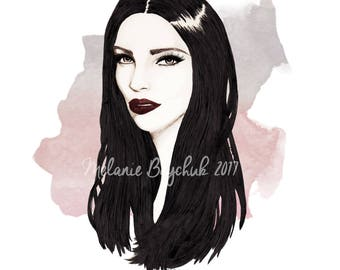 Raven Hair - Print of an Original Fashion Illustration - Pencil, Ink, Wall Art, Fashion Illustration, Fashion Art