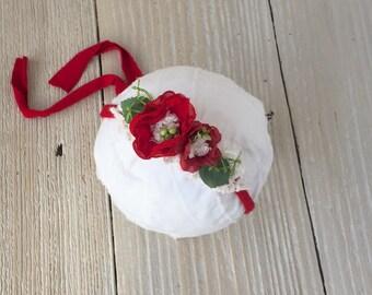 Christmas Photo Prop Tieback Headband for Baby Girl - Newborn, Baby, Toddler, Child - Ready to Ship