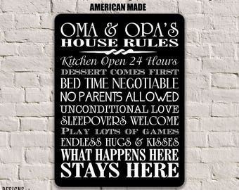 Oma and Opa Gifts, Oma and Opa Rules, Grandparents Sign, Grandparents Gift, Oma and Opa Gift Personalized House Rules Sign Gift for OMA SPH3