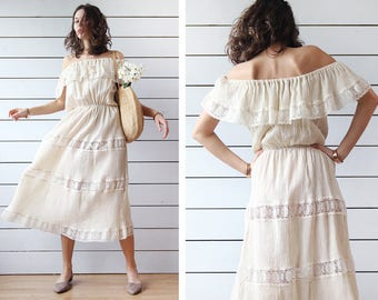 Vintage ecru white raw cotton sheer lace tiered off shoulder ankle length maxi summer beach folk festival sun dress