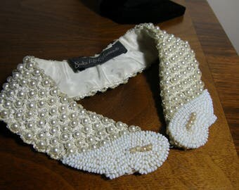 Saks Fifth Avenue Detachable Faux Peter Pan Collar Pearls White Seed Beads