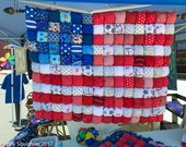 """US Flag Bubble Quilt July 4th Quilt for Tummy Time - Patriotic Decor - Baby quilt toddler quilt  - 32""""x41"""" Ready to Ship"""