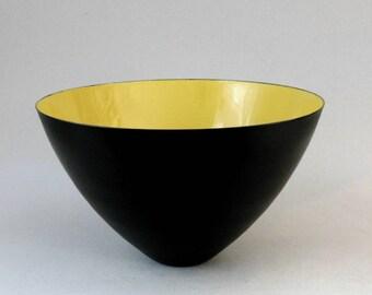 LARGE 12X7 Vintage KRENIT BOWL Yellow Gold Matte Black Porcelain Enamel Denmark Mid Century Danish Modern Near Mint Condition Krenchel 1953