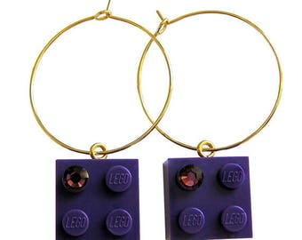 ON SALE Purple LEGO (R) brick 2x2 with a Purple Swarovski crystal on a Silver/Gold plated hoop