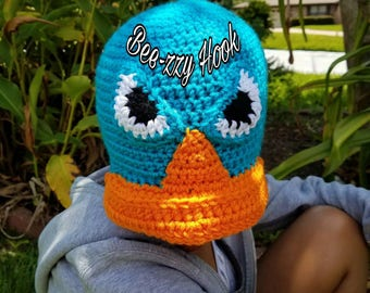 Crocheted character hat inspired by Agent P or Perry the platypus from phineas and ferb (Teen/Adult)