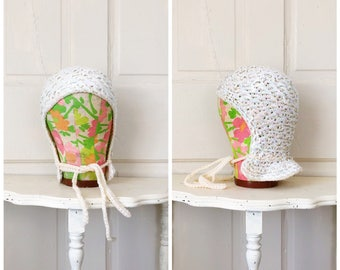 Glittering Snow 1950s Cream/Iridescent Sequin Knit Skull Cap/Winter Hat