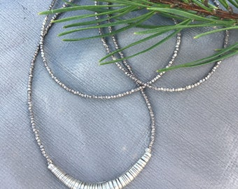 Silver tube layering  necklace