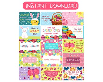 Printable Easter Lunchbox Notes for Kids - Instant Download Lunchbox Notes - Easter Cards - School Notes - DIGITAL DOWNLOAD