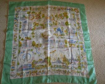 vintage souvenir PARIS silk scarf