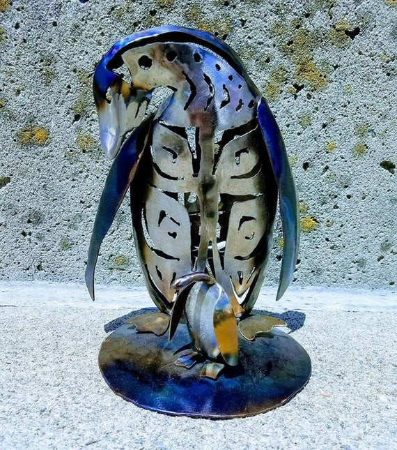 Mother and baby penguin, metal art gift, North Pole, penguin love, seasonal decor, useful art, candle piece, small candle gift, porch decor
