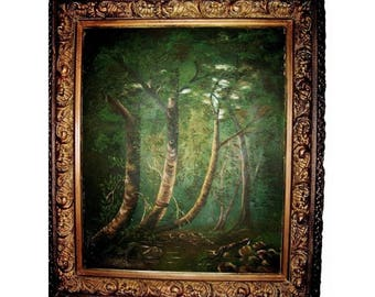Rustic Luminist Deep Forest Trees Large Oil Painting Landscape Impressionist Tonalism Signed on Verso George Carls__