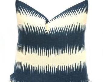 15% Off Sale NAVY PILLOW, Decorative Pillow, Striped Pillow,  Ikat Pillow Cover, Throw pillow, Modern Pillow, Accent Pillow, Cream Navy, Thr