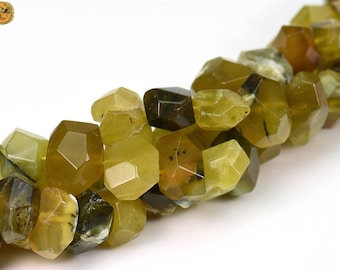 15 inch strand of Yellow Opal faceted nugget beads,centre drilled beads 6-12x16-18mm