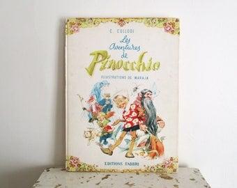 Vintage french children's book, PINOCCHIO, 1960, France, Livre enfant, Conte, Illustration, Antique