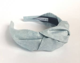 Womens headband Top knot headband adult stonewash denim blue hairband hair accessories no slip stay on knotted head band for women turban