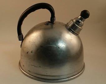 Vintage 1950s Aluminum Whistling Tea Kettle -- Mirro Brand, 1.5 Quarts, Rounded Shape, Midcentury, Retro Kitchenware