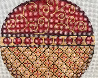 "Hand Painted Needlepoint Canvas 18 mesh Gold and Red 4"" Ornament"