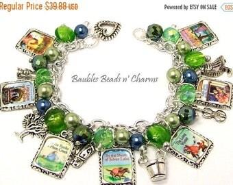 Sale Little House on the Prairie Charm Bracelet Jewelry, Book Bracelet, Laura Ingalls Wilder, Literary Charm Bracelet Jewelry