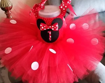 Red and Black Minnie Mouse Costume Flower Girl Tutu Dress Birthday Outfit