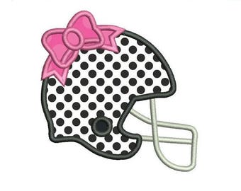 ON SALE Football Helmet Bow Applique Embroidery Design - Instant Download
