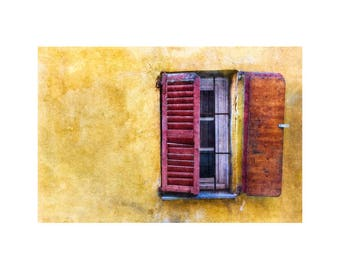 Red Shutters, French Window, Rustic Scene, Gold Tones, Home Decor, South of France