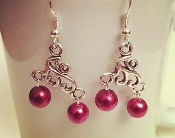 Earrings arabesques Burgundy beads