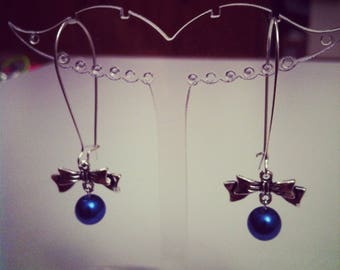 Earrings bows large dark blue silver clasps
