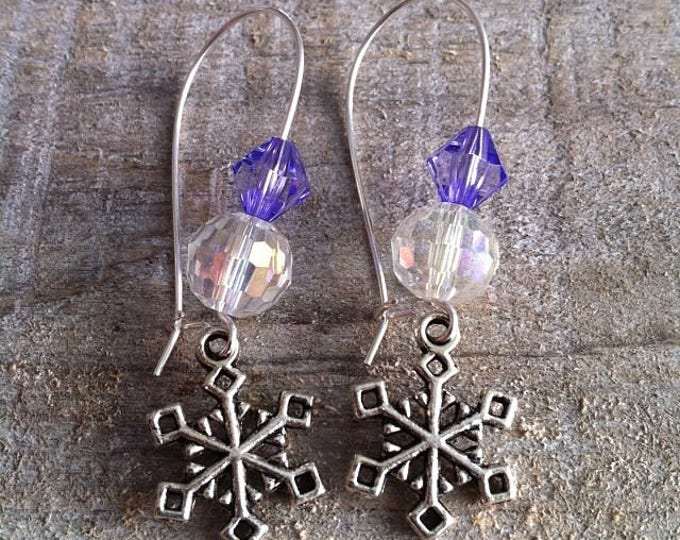 Snowflakes earrings large silvery purple 3 clasps