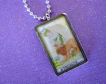 Tarot Card, Strength Card, Rearview Decoration, Purse Charm, Tarot Jewelry