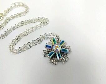 Swarovski Crystal Snowflake Necklace - Silver Snowflake Necklace