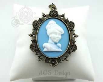 Cameo Necklace Victorian Cinderella Princess Antique Bronze Necklace Blue White Cameo Halloween Costume